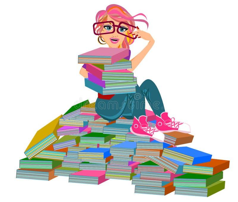 Boekenwurmmeisje stock illustratie