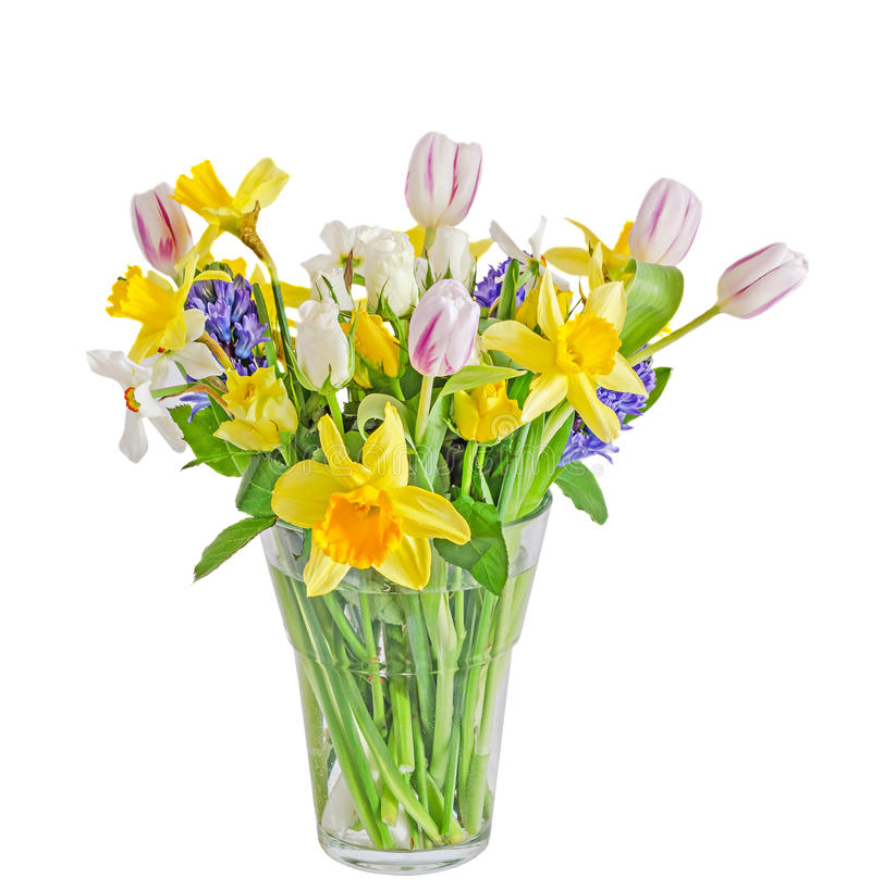 Boeket, bloemenregeling met gele gele narcissen, witte tulpen, stock foto's