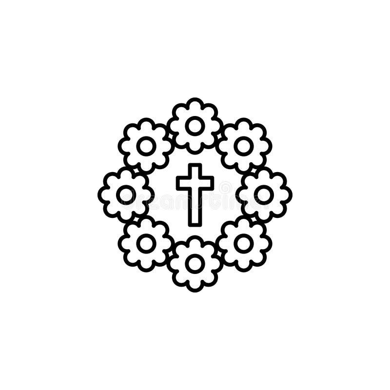 boeket, het pictogram van het doodsoverzicht gedetailleerde reeks pictogrammen van doodsillustraties Kan voor Web, embleem, mobie royalty-vrije illustratie
