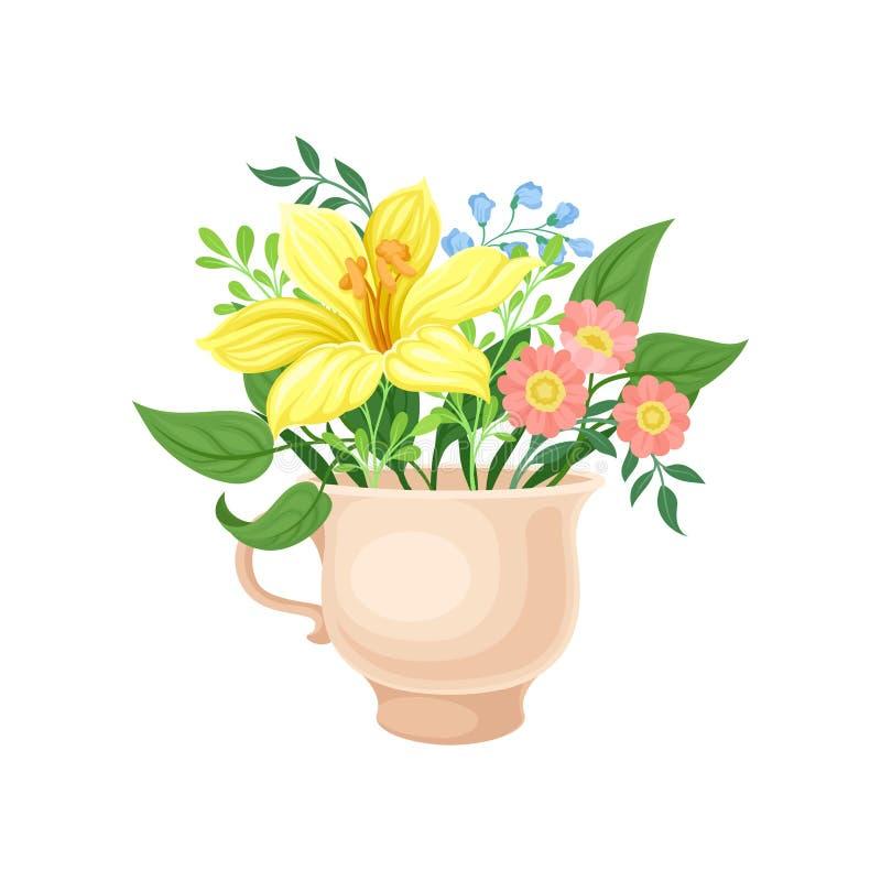 Boeket met een grote gele bloem in de mok Vector illustratie op witte achtergrond royalty-vrije illustratie