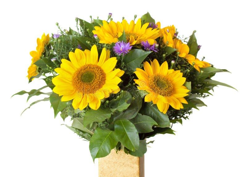Boeket met zonnebloemen royalty-vrije stock afbeeldingen