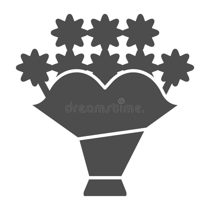 Boeket stevig pictogram Bloem vectordieillustratie op wit wordt geïsoleerd Het bloemendieontwerp van de glyphstijl, voor Web en a royalty-vrije illustratie