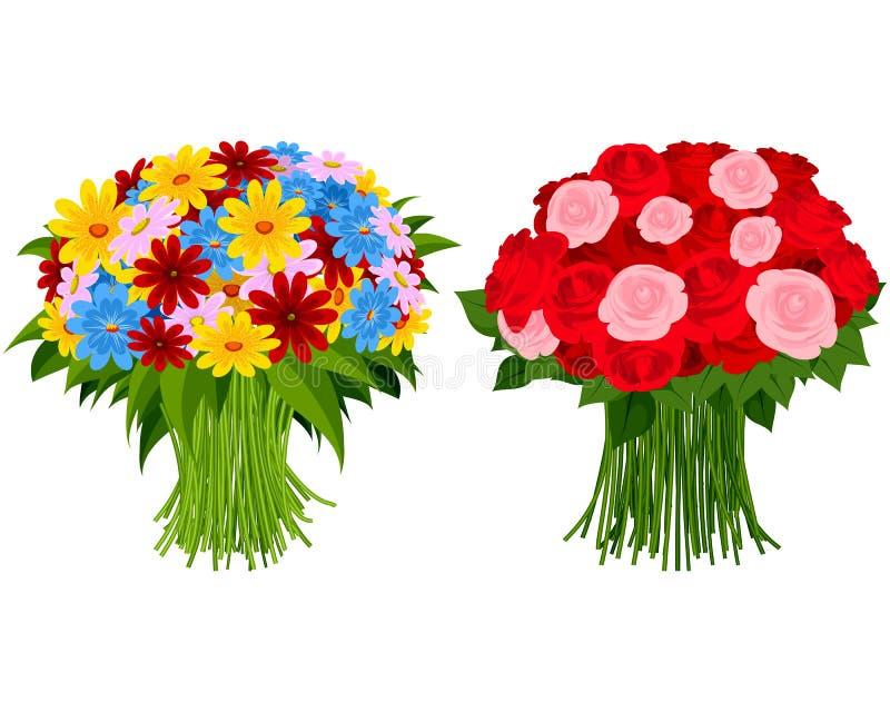 Boeket twee van bloemen royalty-vrije illustratie