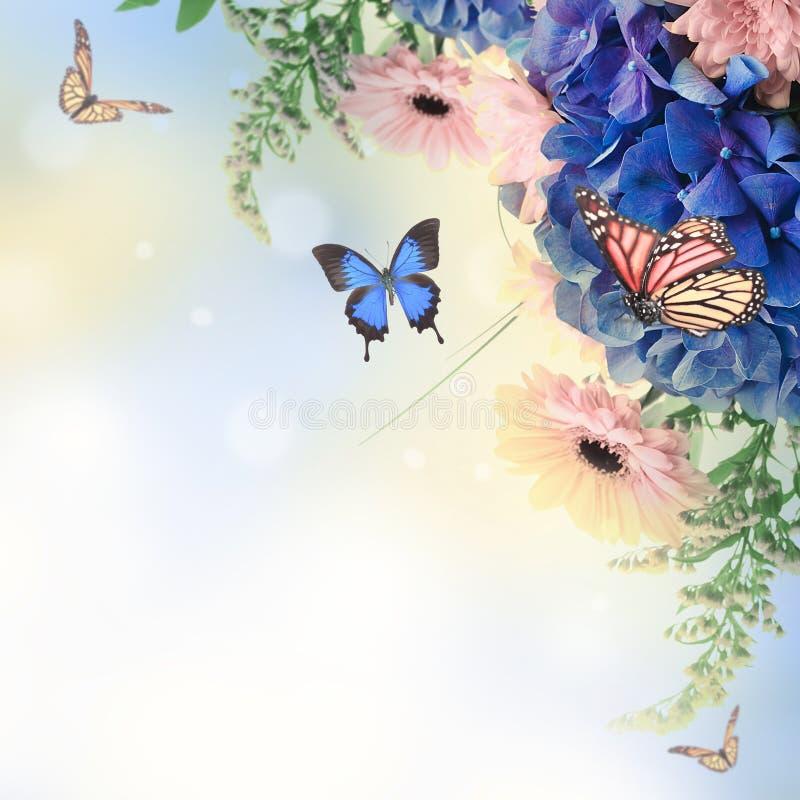 Boeket van blauwe hydrangea hortensia's vector illustratie