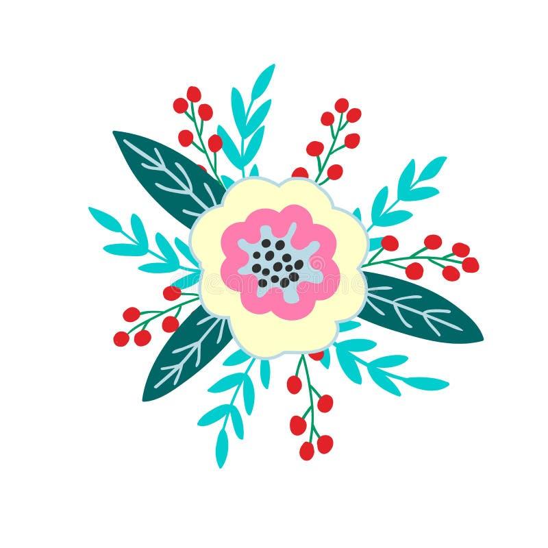 Boeket van bloemen, bessen, bladeren en takjes van fantasieinstallaties Vector stock illustratie
