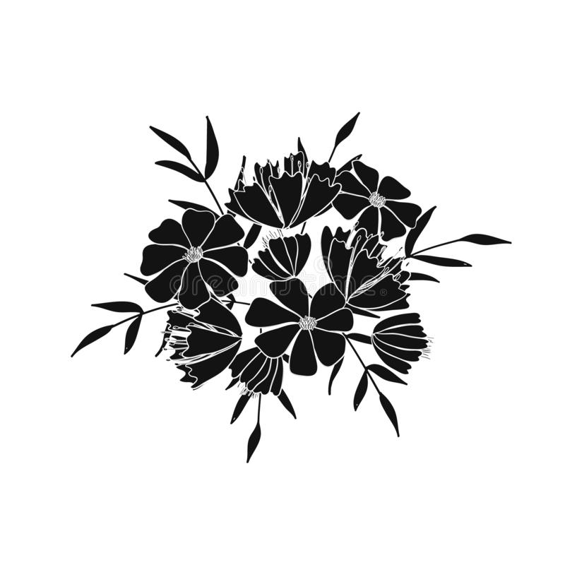 Boeket van bloemen, bessen, bladeren en takjes van fantasieinstallaties Vector royalty-vrije illustratie