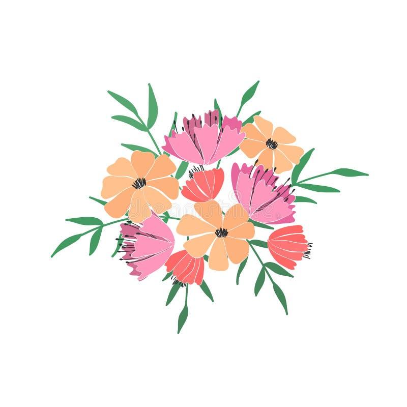 Boeket van bloemen, bessen, bladeren en takjes van fantasieinstallaties Vector vector illustratie
