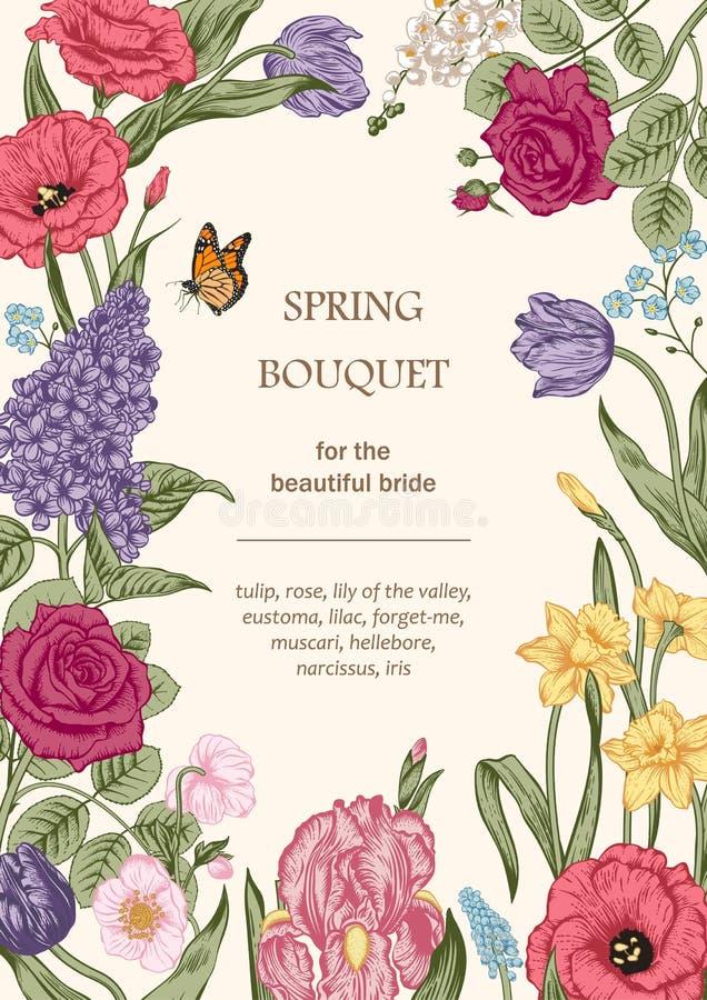 Boeket van bloemen Bloemen frame stock foto's