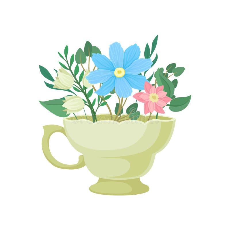Boeket van bloemen in een beige mok Vector illustratie op witte achtergrond vector illustratie
