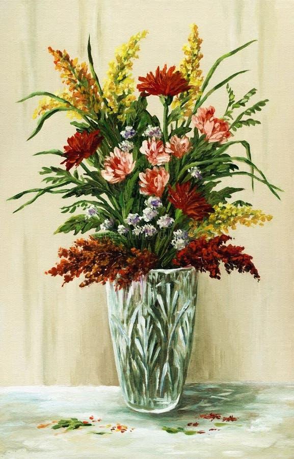 Boeket van bloemen in een kristalvaas stock illustratie