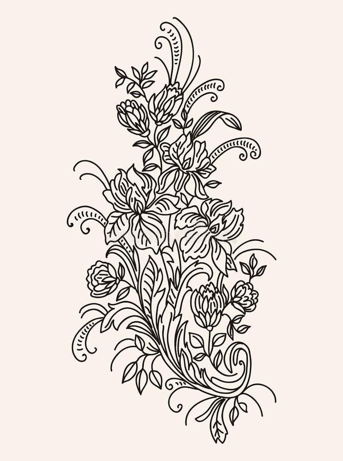 Boeket van bloemen getrokken zwart-wit contour royalty-vrije illustratie