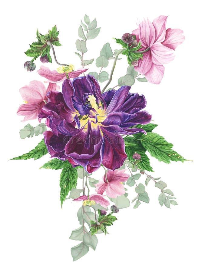 Boeket van bloemen, waterverf het schilderen op witte achtergrond stock illustratie
