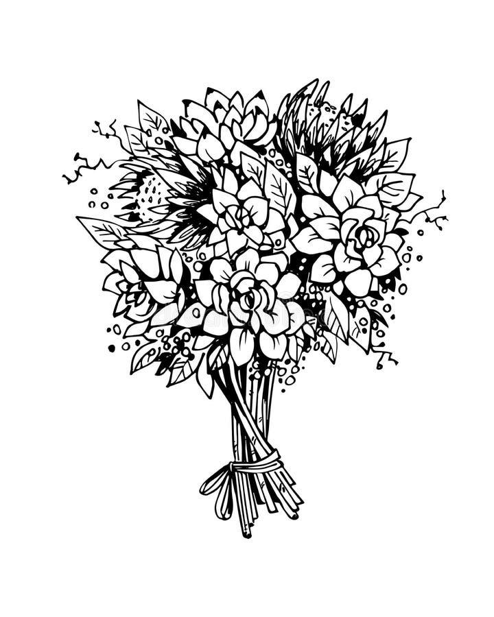 Boeket van bloemen Zwart-witte vectorschets vector illustratie