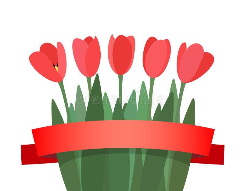 Boeket van bloementulpen stock illustratie