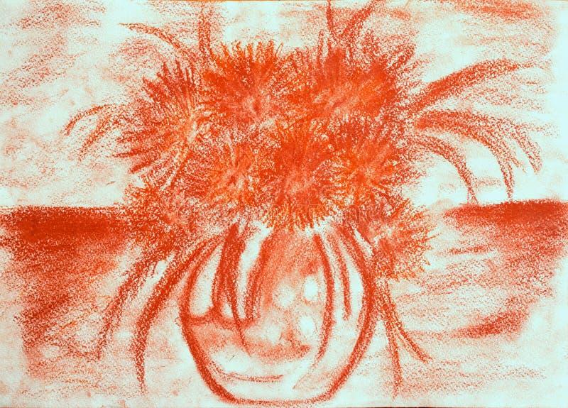 Boeket van chrysanten in een vaas op de lijst stock illustratie