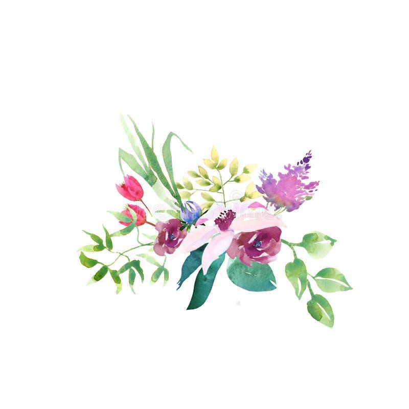 Boeket van de het Huwelijks het romanric waterverf van de inzamelingslente Ornament van de waterverf het blauwe roze en purpere b stock illustratie
