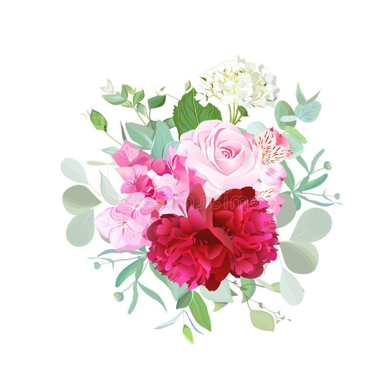 Boeket van de roze, rode pioen van Bourgondië, roze en witte hydrangea hortensia vector illustratie