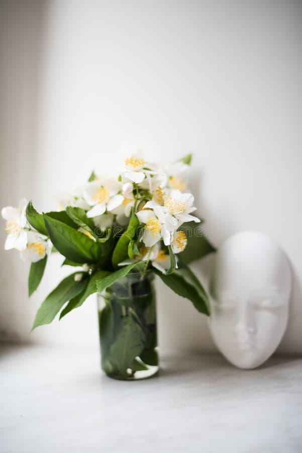 Boeket van de verse witte bloemen van de de zomerjasmijn royalty-vrije stock foto's