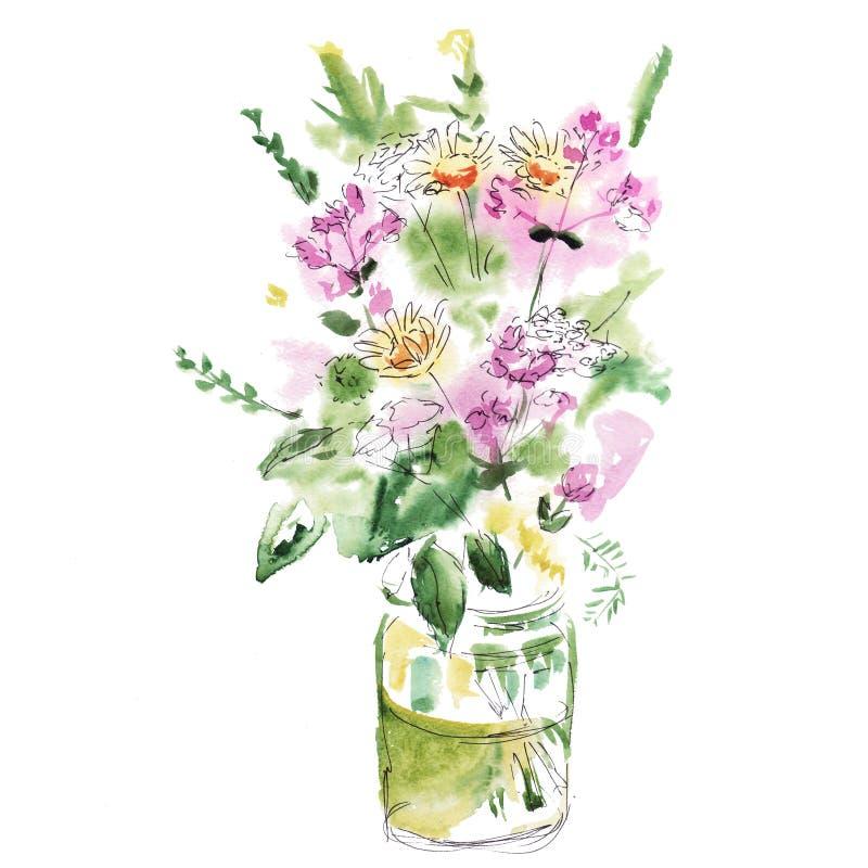 Boeket van de wilde schets van de bloemenwaterverf stock foto