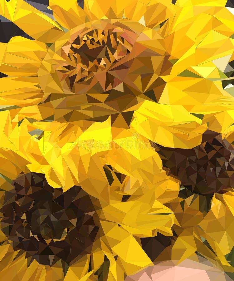 Boeket van drie zonnebloemen stock illustratie