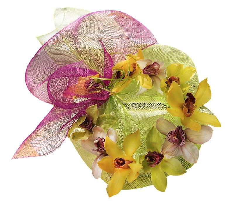 Boeket van gele en roze geïsoleerde orchideeën stock foto