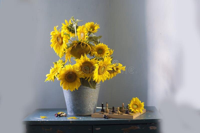 Boeket van gele zonnebloemen royalty-vrije stock foto's