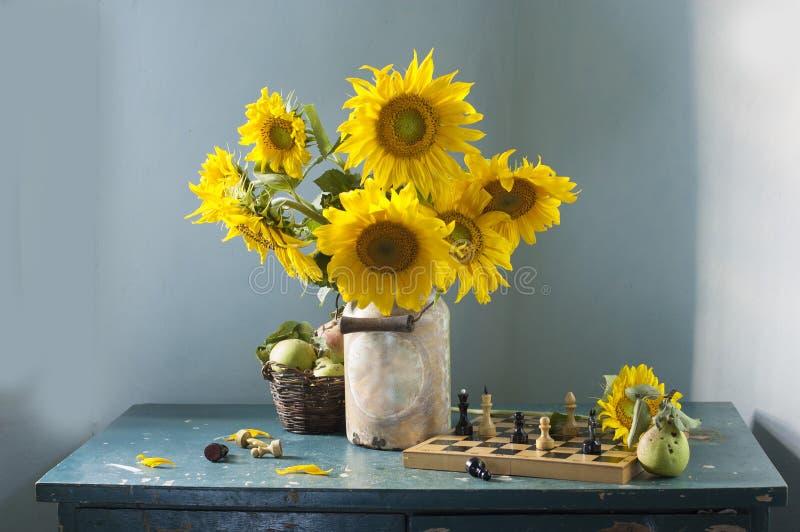 Boeket van gele zonnebloemen royalty-vrije stock fotografie