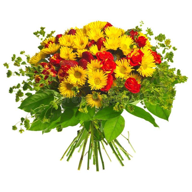 Boeket van gerberas, rozen en aardbei royalty-vrije stock foto's