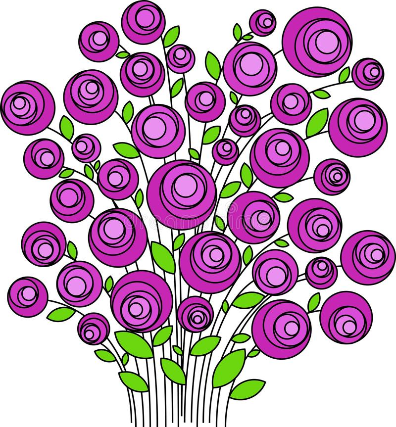 Boeket van gestileerde roze bloemen, vector stock foto