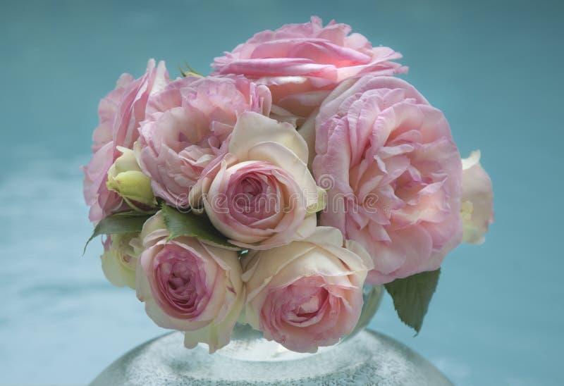 Boeket van gevoelige roze rozen stock foto