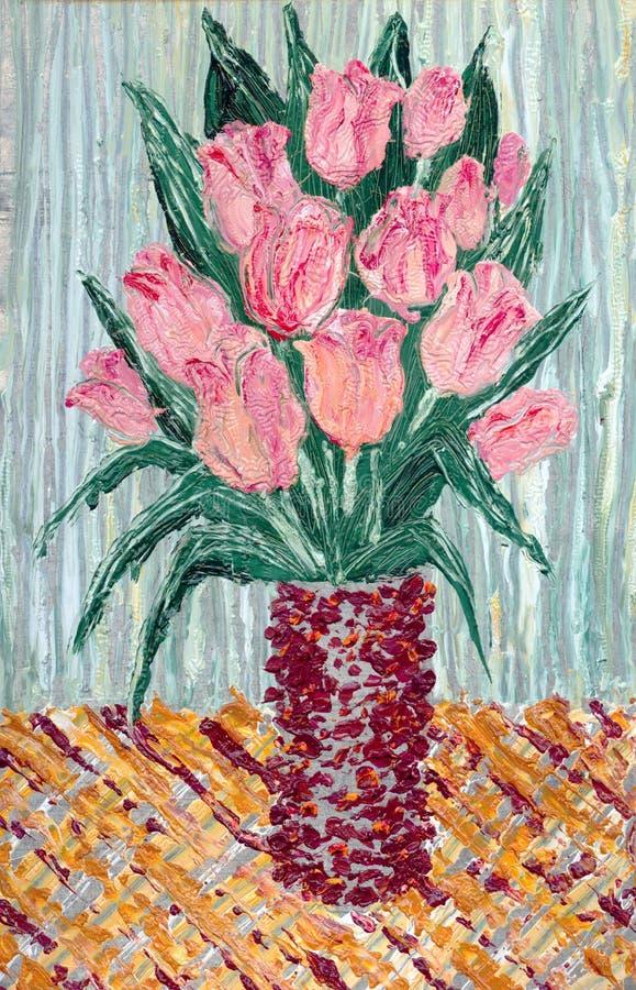 Boeket van gevoelige roze tulpen in een vaas royalty-vrije illustratie
