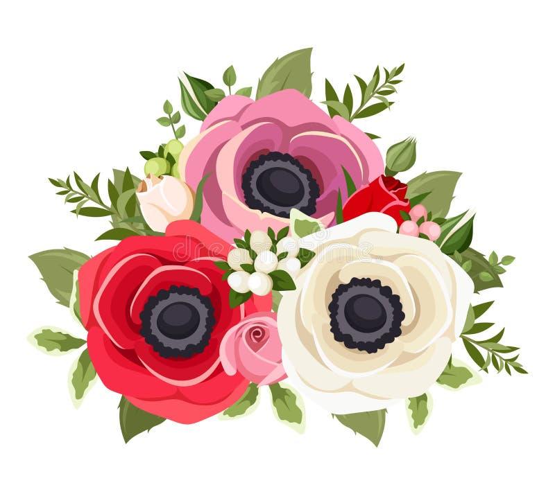 Boeket van kleurrijke anemoonbloemen Vector illustratie vector illustratie
