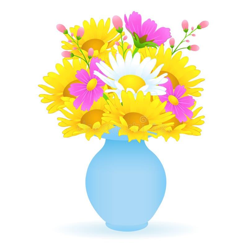 Boeket van kleurrijke bloemen in de vaas, vectortekening De heldere weide ontluikt gele en witte kamille en roze bloemen stock illustratie