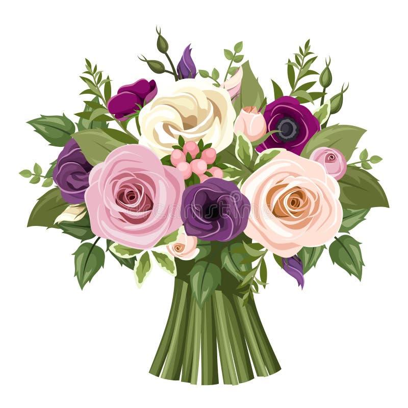 Boeket van kleurrijke rozen en lisianthusbloemen Vector illustratie vector illustratie