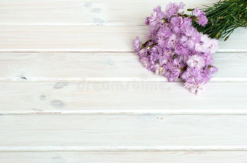 Boeket van korenbloemen op een witte houten achtergrond royalty-vrije stock afbeeldingen