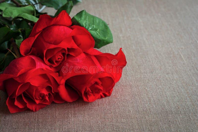 Boeket van levende rode of scharlaken rozen met groene bladeren op de bedelaars stock fotografie