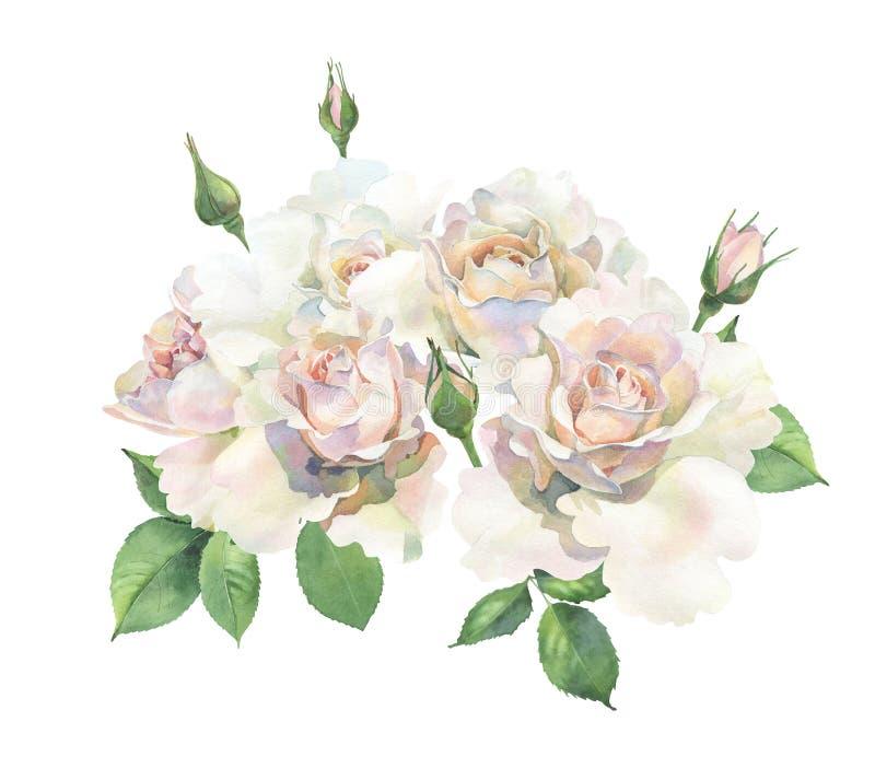 Boeket van lichtrose rozen royalty-vrije illustratie