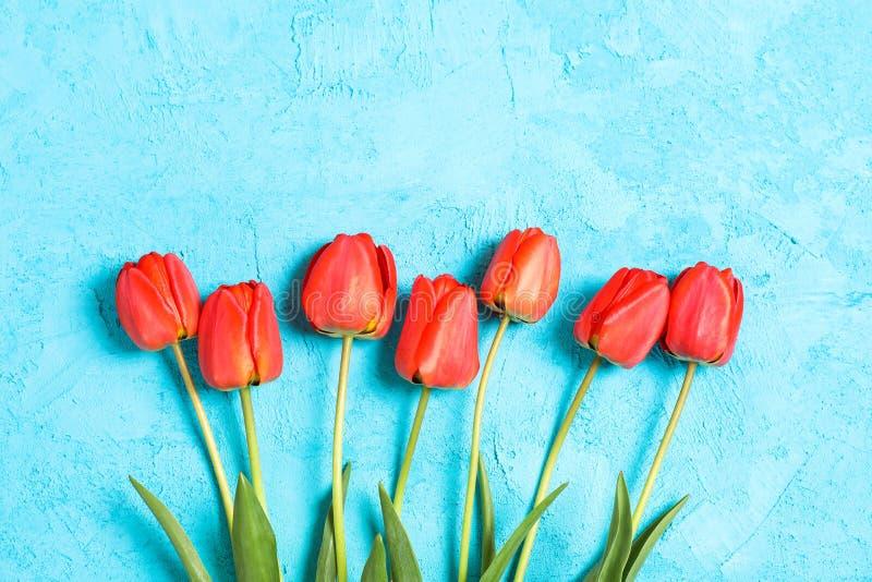 Boeket van mooie rode tulpen met groene bladeren op kleurenachtergrond royalty-vrije stock fotografie