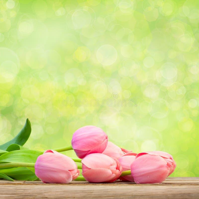 Boeket van Mooie Roze Tulpen op groene achtergrond royalty-vrije stock afbeelding