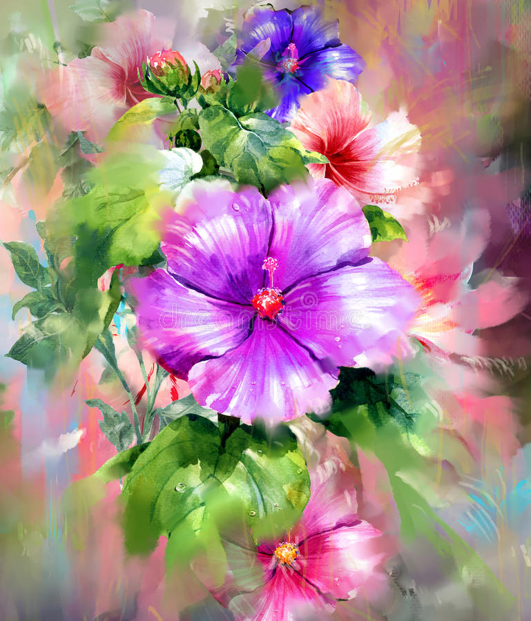 Boeket van multicolored bloemenwaterverf het schilderen stijl royalty-vrije illustratie