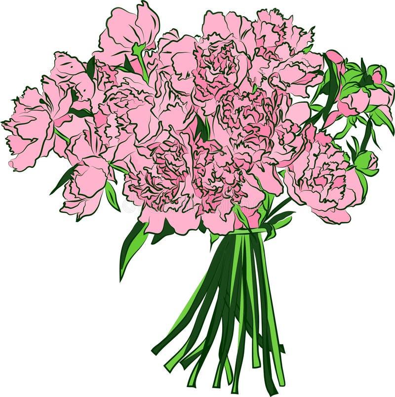 Boeket van pioenbloemen Hand getrokken illustratie royalty-vrije illustratie