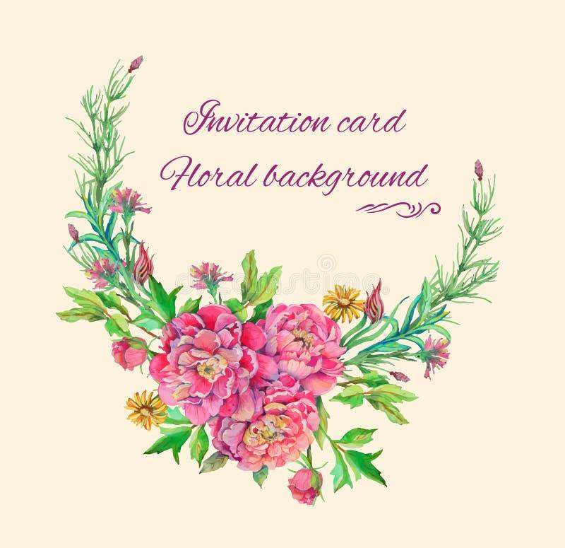 Boeket van pioenbloemen met decoratie stock illustratie