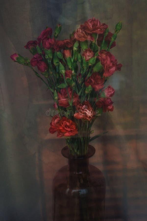 Boeket van rode anjers in een vaas stock afbeelding