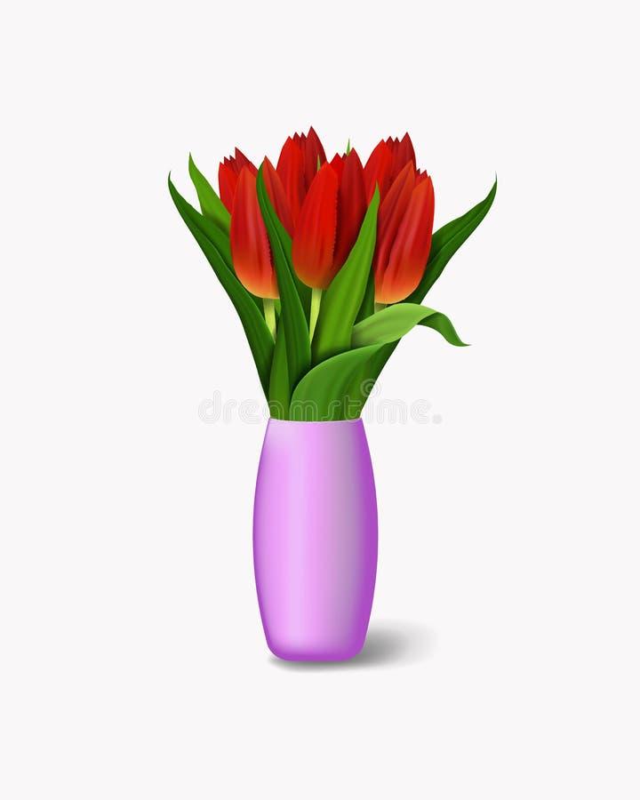 Boeket van rode bloemen in vaas Realistische tulpen Vector illustratie Eps 10 vector illustratie