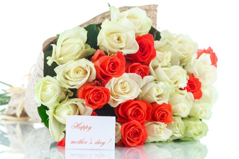 Boeket van rode en gele rozen stock foto