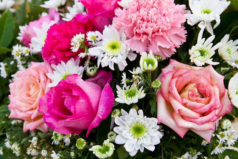 Boeket van rode en roze rozen royalty-vrije stock afbeeldingen