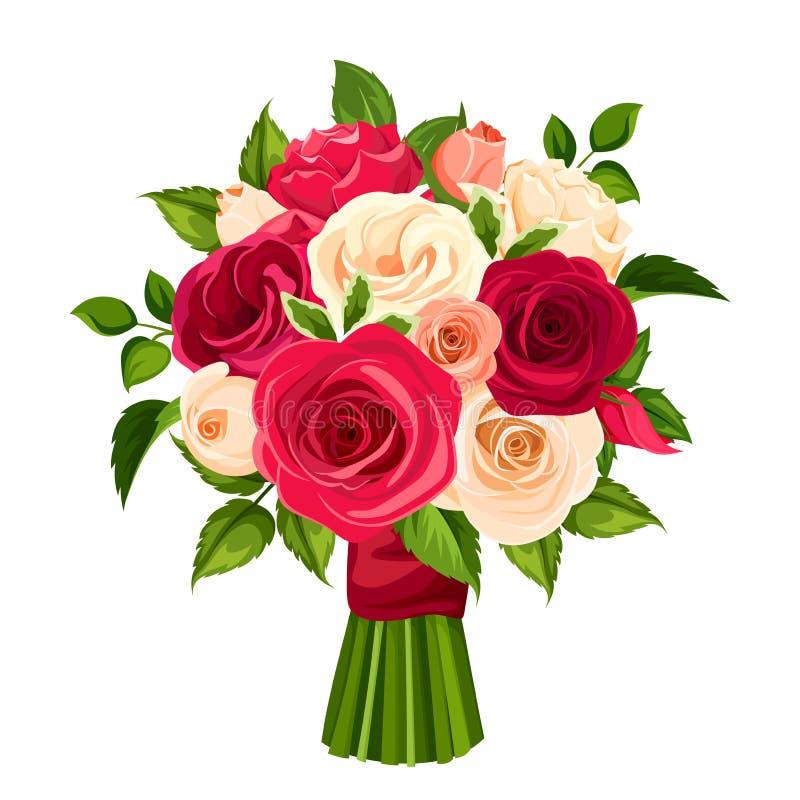 Boeket van rode, oranje en witte rozen Vector illustratie vector illustratie