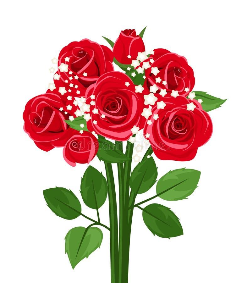 Boeket van rode rozen. stock illustratie
