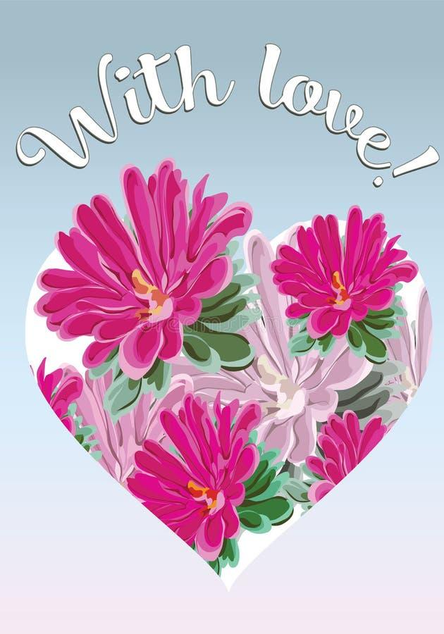 Boeket van roze chrysanten en een hart op een prentbriefkaar met de woorden vector illustratie