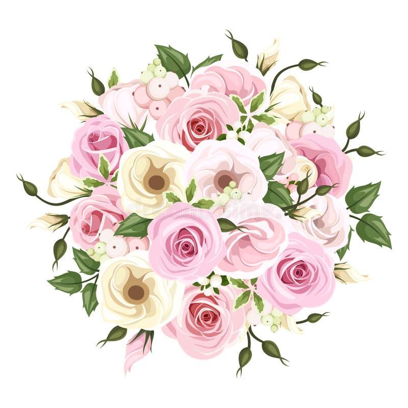 Boeket van roze en witte rozen en lisianthusbloemen Vector illustratie royalty-vrije illustratie